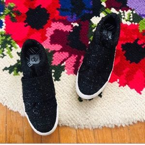Dolce Vita Black Sparkle Platform Slip On Sneakers